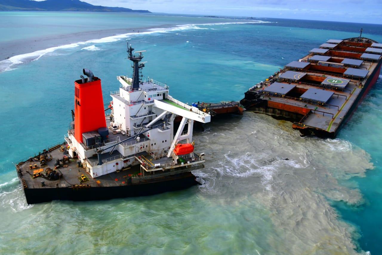The MV Wakashio grounded off Mauritius