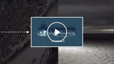 satellite image of an oil tanker